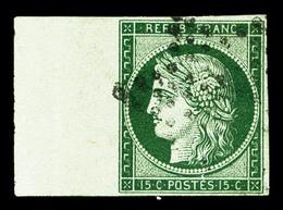 O N°2b, 15c Vert-foncé, Grand Bord De Feuille Latéral Gauche, PIECE CHOISIE, SUPERBE (signé Calves/Brun/certificat)   Qu - 1849-1850 Cérès