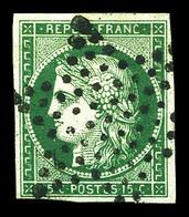 O N°2c, 15c Vert Très Foncé, NUANCE RARE. SUPERBE (certificat)  Qualité: O  Cote: 2800 Euros - 1849-1850 Cérès