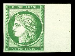 ** N°2e, 15c Vert, Impression De 1862, Bord De Feuille Latéral. Fraîcheur Postale, SUP (signé Brun/certificat)  Qualité: - 1849-1850 Cérès