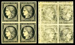 ** N°3, 20c Noir Sur Jaune En Bloc De Quatre Avec Impression RECTO-VERSO, Fraîcheur Postale, SUPERBE (certificat)  Quali - 1849-1850 Cérès