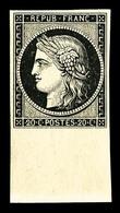 ** N°3, 20c Noir Sur Jaune Bord De Feuille Inférieur, FRAÎCHEUR POSTALE, SUP (signé Brun/certificat)  Qualité: ** - 1849-1850 Cérès