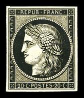 * N°3, 20c Noir Sur Jaune, Frais, TB (signé Scheller/certificat)  Qualité: *  Cote: 600 Euros - 1849-1850 Cérès