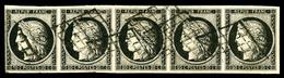 O N°3, 20c Noir Sur Jaune En Bande Horizontale De Cinq, Très Jolie Pièce (certificat)   Qualité: O  Cote: 1700 Euros - 1849-1850 Cérès