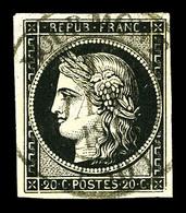 O N°3a, 20c Noir Obl Càd Type 14 De Bourmont Du 1er Janvier 1849. SUPERBE. R. (signé Calves/certificats)  Qualité: O  Co - 1849-1850 Cérès