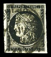O N°3, 20c Noir Obl Càd Type 14 Du 2 Janvier 1849. TTB (signé Scheller/certificat)  Qualité: O  Cote: 1000 Euros - 1849-1850 Cérès