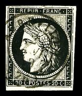O N°3, 20c Noir Obl Càd T15 D'Abbeville Le 2 Janv 1849. SUP (signé Calves/certificat)  Qualité: O  Cote: 1000 Euros - 1849-1850 Cérès