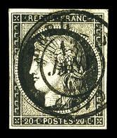 O N°3, 20c Noir Obl Càd Type 15 Du 13 Janvier 1849. TTB (signé Scheller)  Qualité: O  Cote: 250 Euros - 1849-1850 Cérès