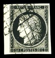 O N°3, 20c Noir Sur Jaune Bdf. SUP (signé Brun)  Qualité: O - 1849-1850 Cérès