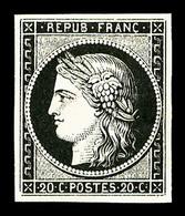 ** N°3a, 20c Noir Sur Blanc, Fraîcheur Postale, SUP (signé/certificat)  Qualité: ** - 1849-1850 Cérès