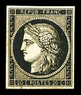 * N°3b, 20c Noir Sur Chamois, Quasi **, Très Jolie Couleur. SUP. R. (signé Calves/certificats)  Qualité: * - 1849-1850 Cérès