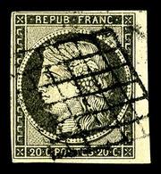 O N°3c, 20c Gris-noir, Petit Bord De Feuille Latéral, TTB (signé Brun/certificat)  Qualité: O  Cote: 520 Euros - 1849-1850 Cérès