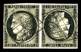 O N°3d, 20c Noir Sur Jaune En Paire Tête-bêche Obl Grille Très Légère. SUP. R. (signé Brun/certificats)  Qualité: O  Cot - 1849-1850 Cérès