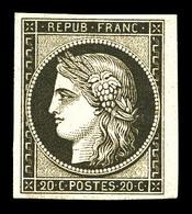 ** N°3f, 20c Noir Sur Jaune Impression De 1862, Petit Bdf, Fraîcheur Postale, SUP (certificat)  Qualité: ** - 1849-1850 Cérès