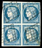 O N°4, 25c Bleu En Bloc De Quatre, Oblitération Grille Légère, Pièce Rare Et Superbe (signé Calves/certificat)  Qualité: - 1849-1850 Cérès