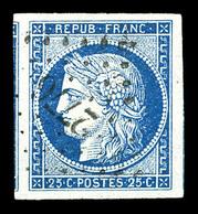 O N°4, 25c Bleu, Grandes Marges, Pièce Choisie. SUP (signé Calves)  Qualité: O - 1849-1850 Cérès