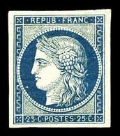 * N°4a, 25c Bleu Foncé, Quatre Belles Marges, Pelurage Au Verso, Très Belle Présentation (certificats)  Qualité: *  Cote - 1849-1850 Cérès