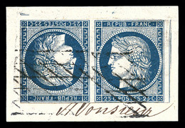 O N°4c, 25c Bleu En Paire Tête-bêche Horizontale Sur Son Support. SUP. R.R. (signé Calves/certificat)  Qualité: O  Cote: - 1849-1850 Cérès