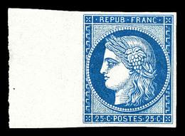 ** N°4d, 25c Bleu Impression De 1862 Bord De Feuille Latéral, Fraîcheur Postale, SUPERBE (certificat)   Qualité: ** - 1849-1850 Cérès