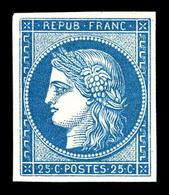 * N°4d, 25c Bleu, Impression De 1862, SUP (certificat)  Qualité: *  Cote: 600 Euros - 1849-1850 Cérès