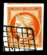 O N°5, 40c Orange Obl Grille, Grandes Marges Avec Filet Du Voisin En Haut. Pièce Choisie. SUP (certificat)  Qualité: O - 1849-1850 Cérès