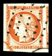 O N°5, 40c Orange, Oblitération Gros Points, Grandes Marges Avec Voisin. SUP (signé Calves/certificat)  Qualité: O - 1849-1850 Cérès