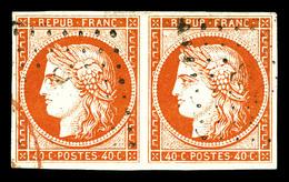 O N°5, 40c Orange En Paire, Grande Fraîcheur. SUP (signée Scheller/certificat)  Qualité: O  Cote: 1200 Euros - 1849-1850 Cérès