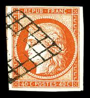 O N°5, 40c Orange Obl Grille, Très Jolie Pièce. TTB (signé Scheller)  Qualité: O  Cote: 500 Euros - 1849-1850 Cérès