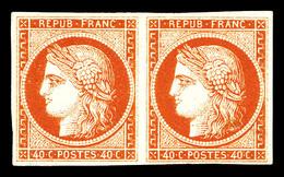 * N°5A, 40c Orange Foncé En Paire Horizontale, Frais. R.R. (certificat)  Qualité: *  Cote: 7600 Euros - 1849-1850 Cérès