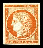* N°5A, 40c Orange, Quatre Belles Marges, Très Frais. TTB (certificats)  Qualité: *  Cote: 3800 Euros - 1849-1850 Cérès