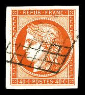 O N°5b, 40c Orange Foncé, Oblitération Grille Légère, Très Belles Marges. SUP (signé Calves/certificat)  Qualité: O - 1849-1850 Cérès
