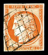 O N°5d, 40c Orange, Chiffres '4' Retouchés, Oblitération Grille. TB. R.R (signé Brun/certificats)  Qualité: O  Cote: 730 - 1849-1850 Cérès