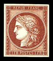 * N°6, 1f Carmin, Quatre Belles Marges, Quasi **, Fraîcheur Postale. SUPERBE. R.R. (certificat)  Qualité: *  Cote: 16000 - 1849-1850 Cérès