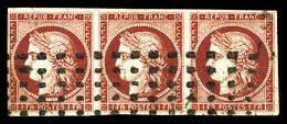 O N°6, 1f Carmin Foncé, Bande De Trois Oblitéré Gros Points. SUP (signé Scheller/certificats)  Qualité: O  Cote: 4000 Eu - 1849-1850 Cérès