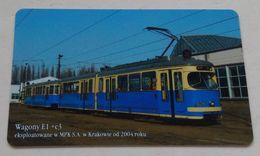 Poland Pologne Cracow Cracovie 1-month Ticket Billet 1 Mois  Tramway Tram E1  2006 - Abonnements Hebdomadaires & Mensuels