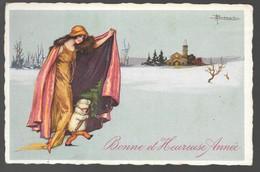 Cpa...illustrateur Italien...Busi .A...art Nouveau...femme Avec Enfant...bonne Et Heureuse Année... - Busi, Adolfo