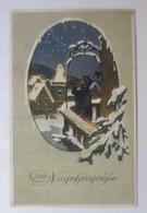 Neujahr, Winterlandschaft, Nachtwächter,  1908, Glitzerkarte ♥ (73131) - Anno Nuovo