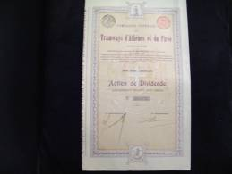 """Actionde Dividende""""Tramways D'Athènes Et Du Pirée""""1907 Bon état,reste Tous Les Coupons - Chemin De Fer & Tramway"""