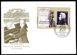 07732) BRD - Mi Block 26 = 1571 - FDC - 100Pf        Wolfgang Amadeus Mozart - FDC: Sobres
