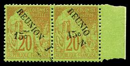 ** N°30, 15c S 20c: Un Ex Avec 'N' Décalé Vers Le Bas Tenant à Normal (point De Rousseur) En Paire Bdf. TB  Qualité: ** - Réunion (1852-1975)