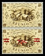 ** N°254a, 70c Sur 5c Sépia: Surchagé Tenant à Non Surchargé. SUP (certificat)  Qualité: **  Cote: 720 Euros - Réunion (1852-1975)