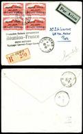 O N°1, 50c Rouge Surchargé 'ROLAND GARROS' En Bloc De 4 Obl St Denis/Reunion Sur Lettre Recommandée Du 25/1/1937 Avec Gr - Réunion (1852-1975)