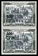 ** N°51, 1000F Paris, ESSAIS DE SURCHARGE Non émise En Noir Sur Paire Verticale. SUPERBE. R.R.R. (certificat)  Qualité:  - Réunion (1852-1975)