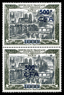 ** N°51, 1000F Paris, ESSAIS DE SURCHARGE Non émise En Bleu Sur Paire Verticale. SUPERBE. R.R.R. (certificat)  Qualité:  - Réunion (1852-1975)