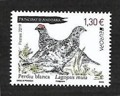 Andorre 2019 - Yv N° 830 ** Perdiu Blanca - Perdrix Blanche - Nuevos