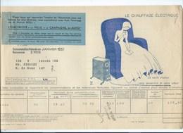 COMPAGNIE PARISIENNE De DISTRIBUTION D'ÉLECTRICITÉ Bureau DAMES Quittance 1933 Chauffage électrique  Bien 2 Scans - Electricité & Gaz