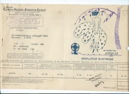 COMPAGNIE PARISIENNE De DISTRIBUTION D'ÉLECTRICITÉ Bureau DAMES Quittance 1934 Ventilateur électrique  Bien 2 Scans - Electricité & Gaz