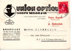 BELGIQUE CARTE A EN TETE POUR LA FRANCE 1938 - Altri