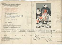 COMPAGNIE PARISIENNE De DISTRIBUTION D'ÉLECTRICITÉ Bureau DAMES Quittance 1934 Appareils électriques  Bien 2 Scans - Electricité & Gaz