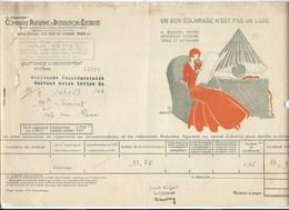 COMPAGNIE PARISIENNE De DISTRIBUTION D'ÉLECTRICITÉ Bureau DAMES Quittance 1932 Eclairage électrique  Bien 2 Scans - Electricité & Gaz