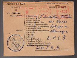 Belgique - Lettre Chimay 1978 Vers BPS 7  - VX2 - Marcophilie